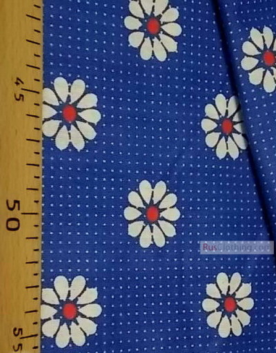 Floral cotton fabric by the yard ''Red Daisies With Dot''}
