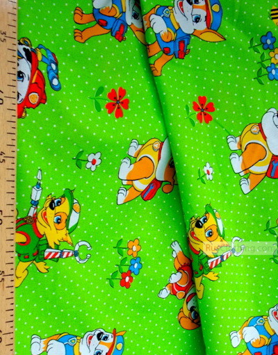 Childrens Fabric by the Yard ''Dog Patrol Green''}