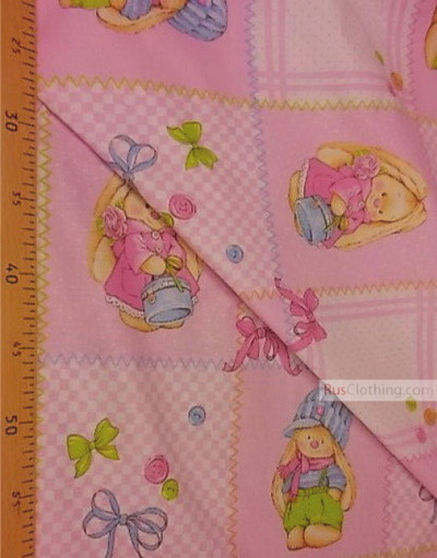 Nursery Fabric by the Yard ''Two Bunnies On Pink Flap''}