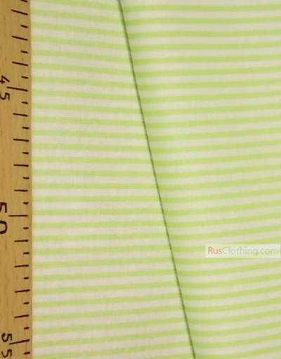 White cotton fabric by the yard ''Narrow, Pale-Green Stripe On White''}