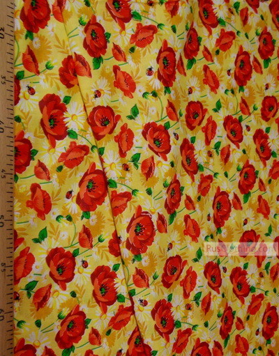 Floral cotton fabric by the yard ''Red Poppies On Yellow''}