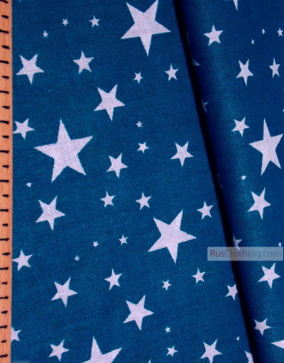 Baby Quilt Fabric by the Yard ''White Stars On The Sea Wave''}