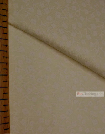 Floral cotton fabric by the yard ''Small White Flowers On Sandy''}