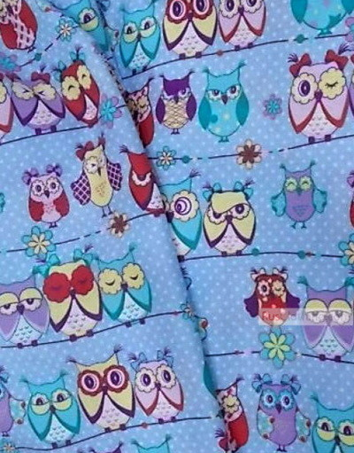 Baby fabric by the Yard ''Owlets On Blue''}