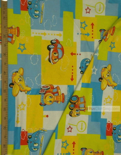 Nursery Print Fabric by the Yard ''Cheerful Transport''}
