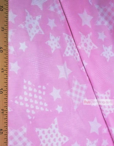 Textile enfant au metre ''White Stars With Light Pink Pattern''}