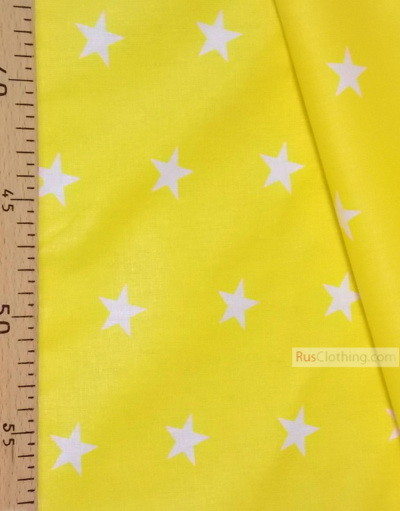 Baby Quilt Fabric by the Yard ''White Star On Yellow''}