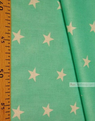 Childrens Fabric by the Yard ''White Star On Mint''}
