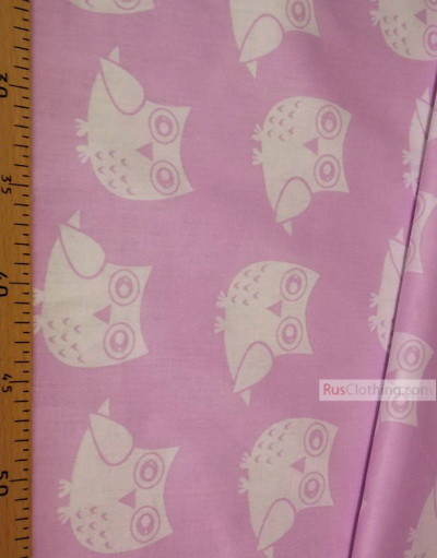 Nursery Print Fabric by the Yard ''White Owlets On Light Purple''}