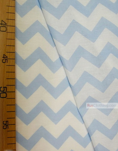 Baby fabric by the Yard ''White, Pale Blue Zigzag''}