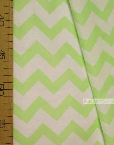 Nursery Print Fabric by the Yard ''Light Green, White Zigzag''}