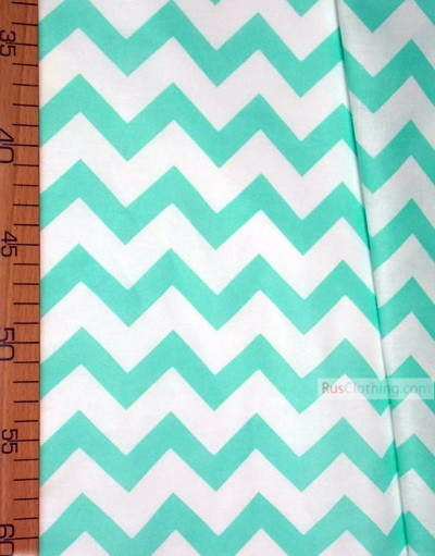 Kids Fabric by the Yard ''White-Mint Zigzag''}
