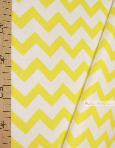 Childrens Fabric by the Yard ''White-Yellow Zigzag''}