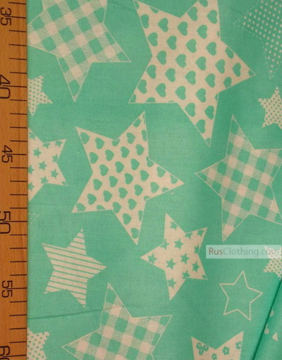 Nursery Fabric by the Yard ''White Star Print On Mint''}