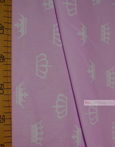 Baby Quilt Fabric by the Yard ''White Crowns On A Light Purple''}