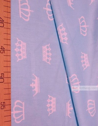Nursery Print Fabric by the Yard ''White Crowns On A Light Blue''}