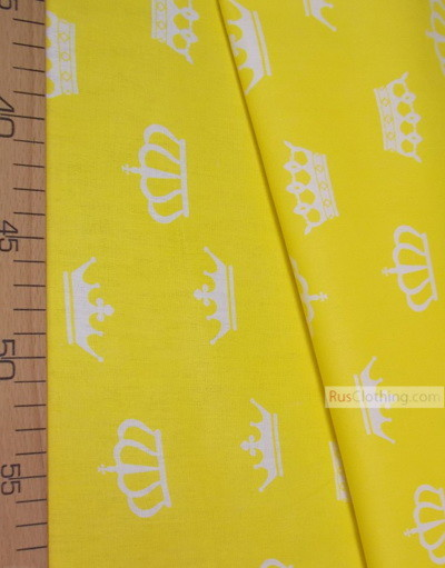 Nursery Print Fabric by the Yard ''White Crowns On Yellow''}