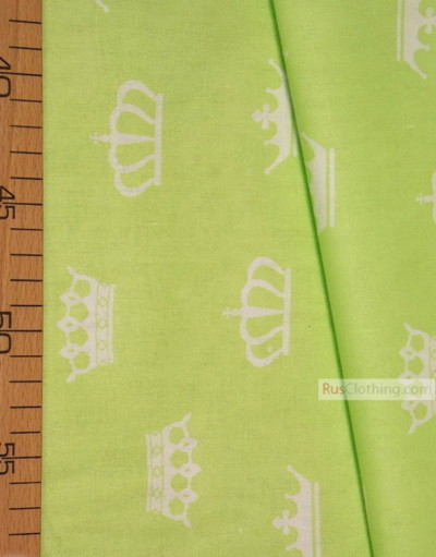 Baby Materials by the Yard ''White Crowns On Light Green''}