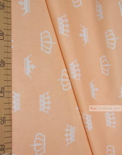 Tissu pour bébé au metre ''White Crowns On Peach''}