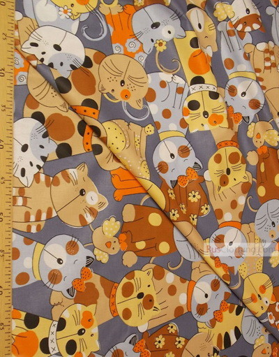 Nursery Fabric by the Yard ''Colored Cats With A Bird''}