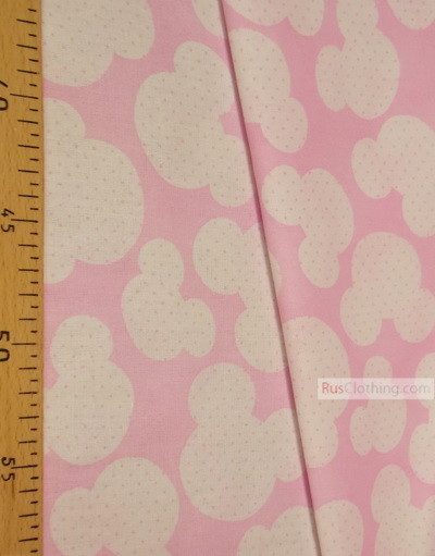 Childrens Fabric by the Yard ''White Mickey On Pink''}