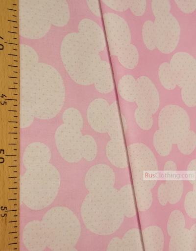 Tissu pour enfant au metre ''White Mickey On Pink''}