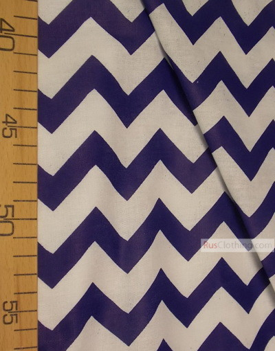 Nursery Print Fabric by the Yard ''White-Blue Zigzag''}