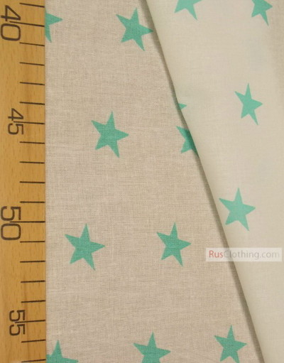 Childrens Fabric by the Yard ''Mint Star On White''}