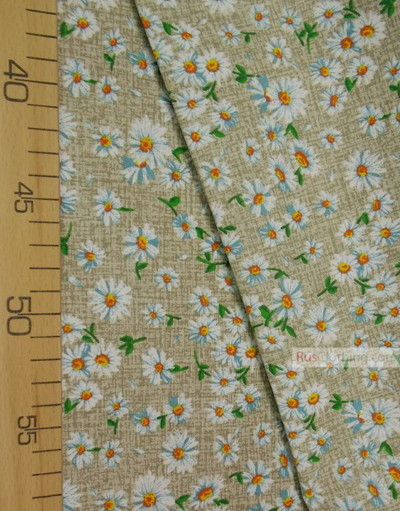 Floral cotton fabric by the yard ''Medium-Sized Daisies On Gray''}