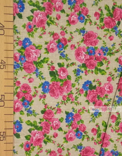 Floral cotton fabric by the yard ''Pink And Blue Roses On Light Gray''}