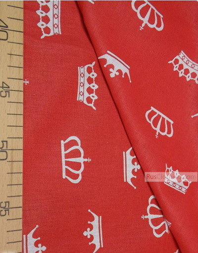 Childrens Fabric by the Yard ''White Crowns On Red''}