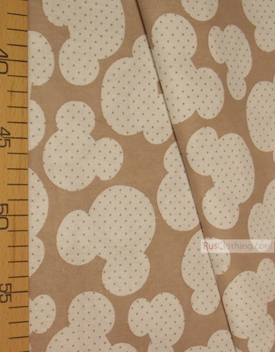 Kids Fabric by the Yard ''White Mickey On Coffee''}