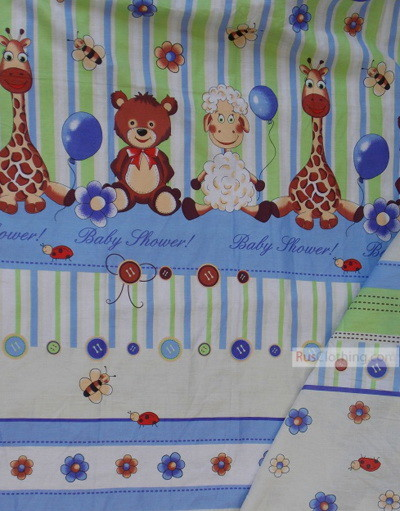 Baby Quilt Fabric by the Yard ''Little Animals With Balloons''}