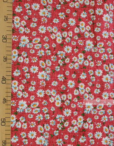 Floral cotton fabric by the yard ''Medium-Sized Daisies On Red''}