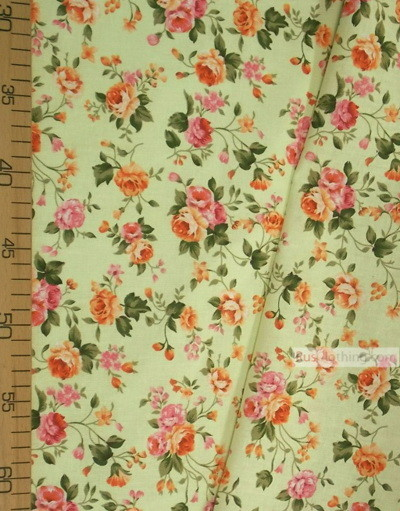 Floral cotton fabric by the yard ''Tea Rose On Light Green''}