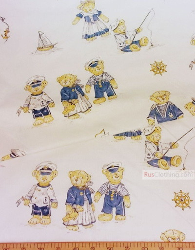 Tissu pour enfant au metre ''Bears-Sailors''}