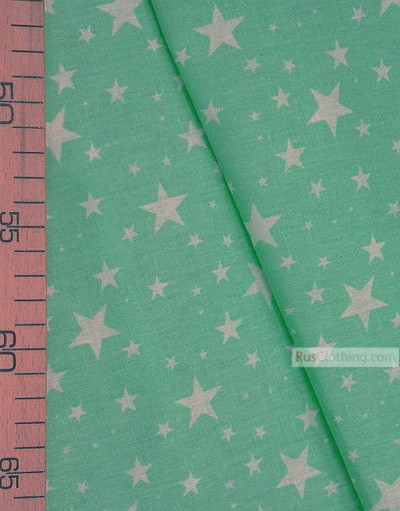 Kids Fabric by the Yard ''White Stars On Mint''}