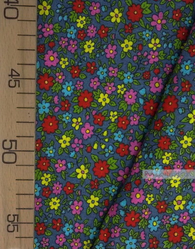 Tissu coton fleuri au metre ''Small Wild Flowers On Gray''}