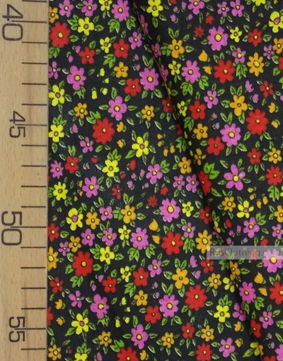 Floral cotton fabric by the yard ''Small Wild Flowers On Black''}