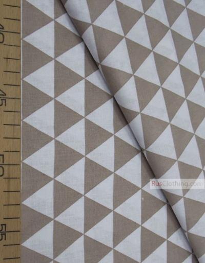 Geometric Print Fabric ''Coffee, White Triangles''}