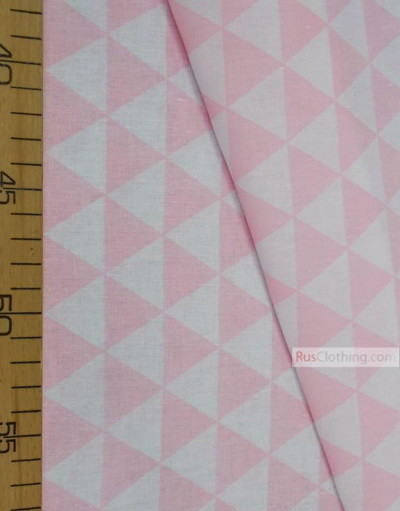 Nursery Print Fabric by the Yard ''Light Pink, White Triangles''}