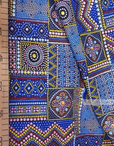 Folk Fabric by the yard ''Byzantine Mosaic On Blue''}