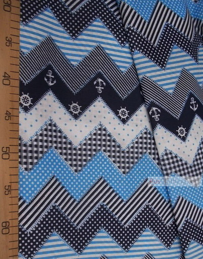Vintage Fabric Ornament by the yard ''Sea Zigzag, Blue''}