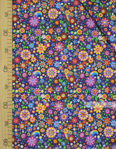 Cotton print fabric by the yard ''Bright Colors On Dark Blue''}