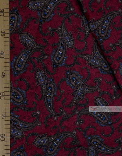 Paisley coton fabric by the yard ''Brown Paisley On Burgundy''}