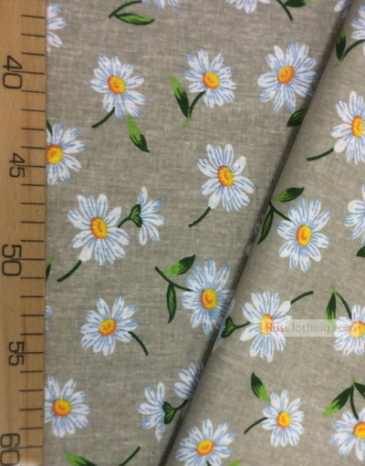 Floral cotton fabric by the yard ''Large Daisies In Light Gray''}