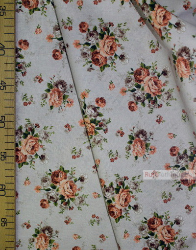 Floral cotton fabric by the yard ''Bouquet Of Flowers On Gray''}