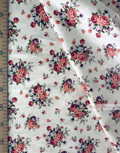 Floral cotton fabric by the yard ''Bouquet Of Flowers On Cream''}