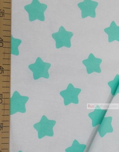 Tissu enfant au metre ''Mint Star On White''}