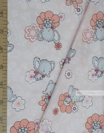 Baby fabric by the Yard ''Elephants With Flowers''}